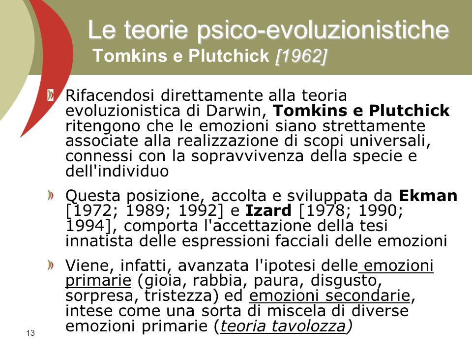 Le teorie psico-evoluzionistiche Tomkins e Plutchick [1962]